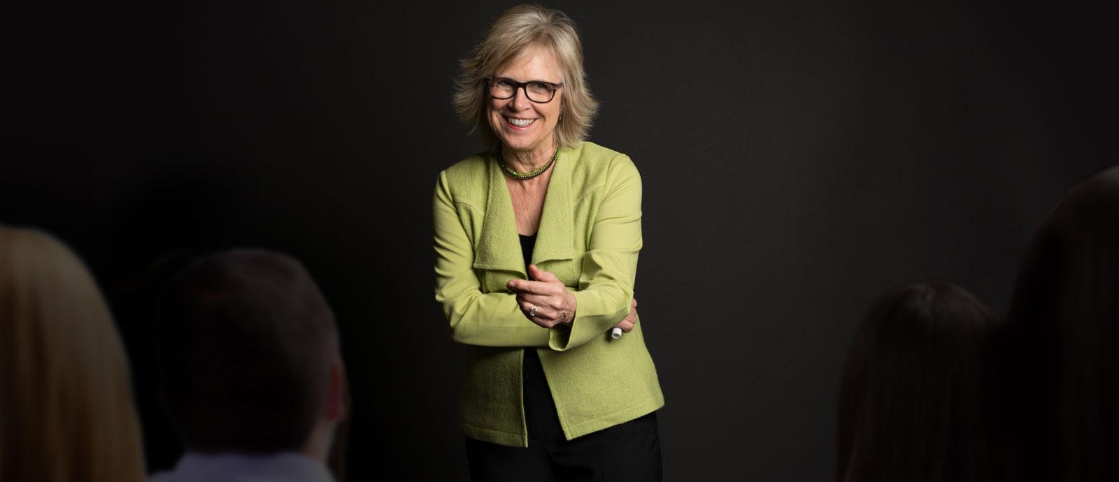 Jill Konrath speaking at a sales workshop